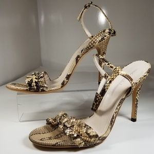 GUCCI SNAKESKIN ANKLE STRAP SANDALS
